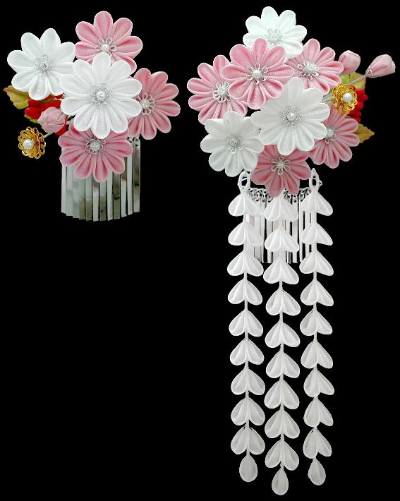 白ピンク菊花かんざし