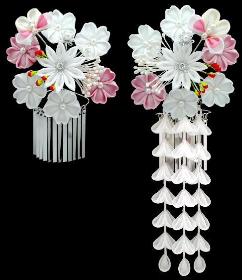 K 67 White And Light Pink Cherry Blossoms Kanzashi