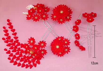 赤の花かんざし