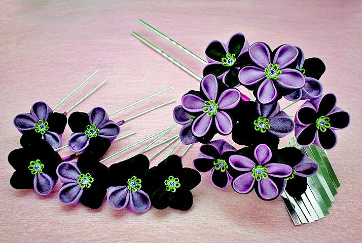 紫黒花かんざし