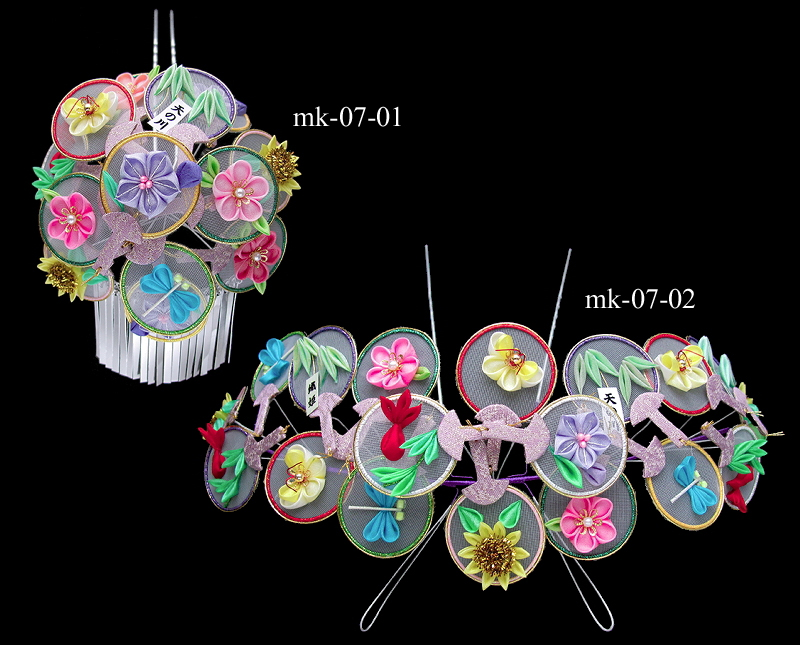 July Kanzashi --- Round Fans (The Guion Festival)