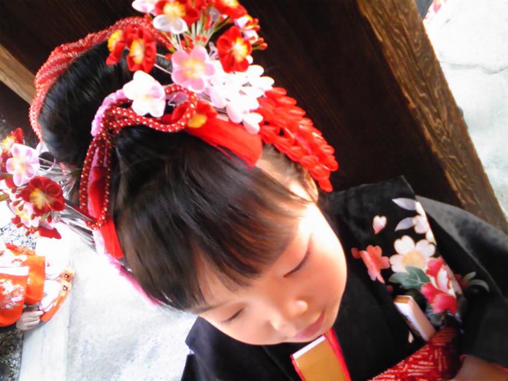 七五三 摩耶の花かんざし k-03-04, op-02,h-01,kanoko red