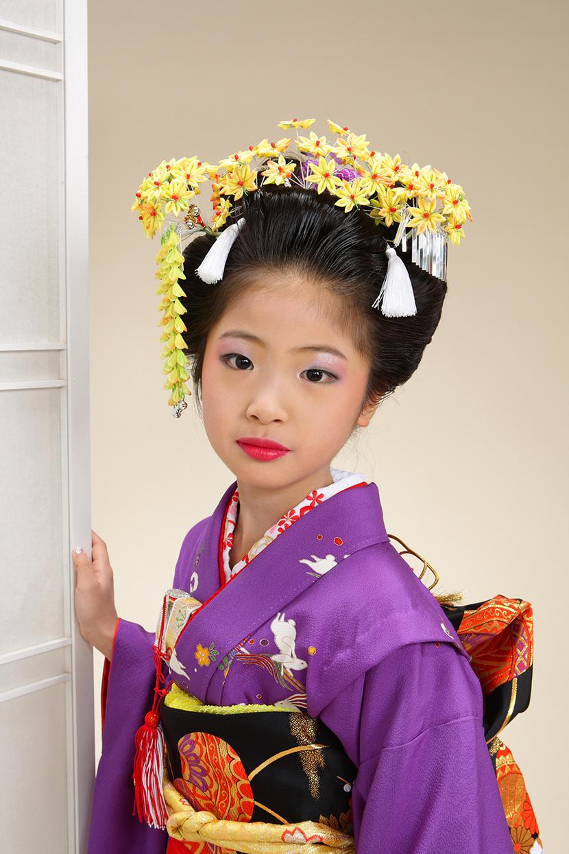七五三 摩耶の花かんざし かえで左右,天飾りセット 平かんざし紫仕様、 京かのこ紫、房紐op-01