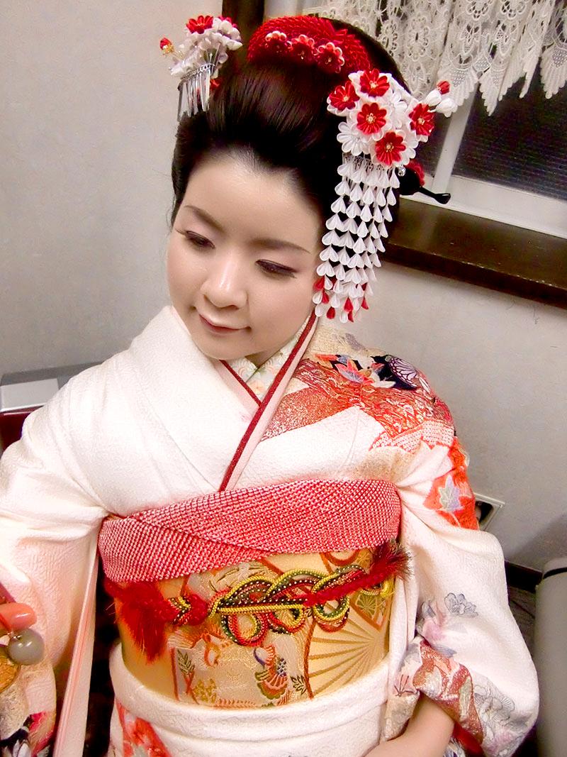 成人式 摩耶の花かんざし k-01-02, 花櫛赤梅