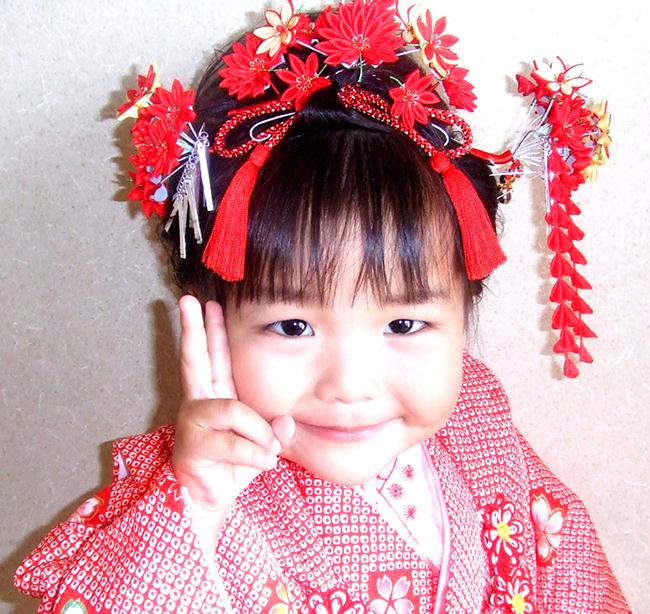 七五三 3歳 髪飾り 楓k-09set
