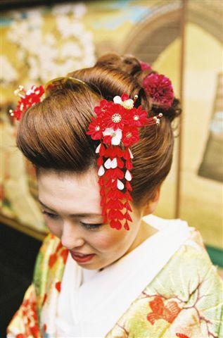 婚礼 花かんざし 赤