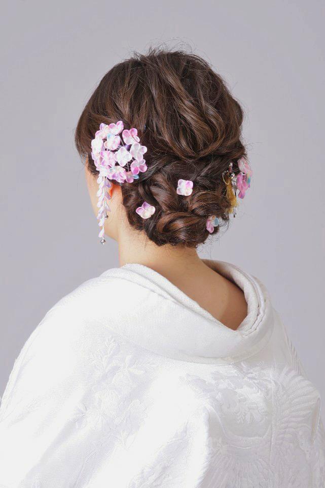 婚礼 紫陽花かんざし